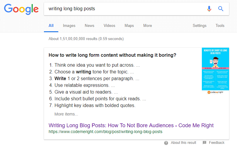 writing long blog post serp