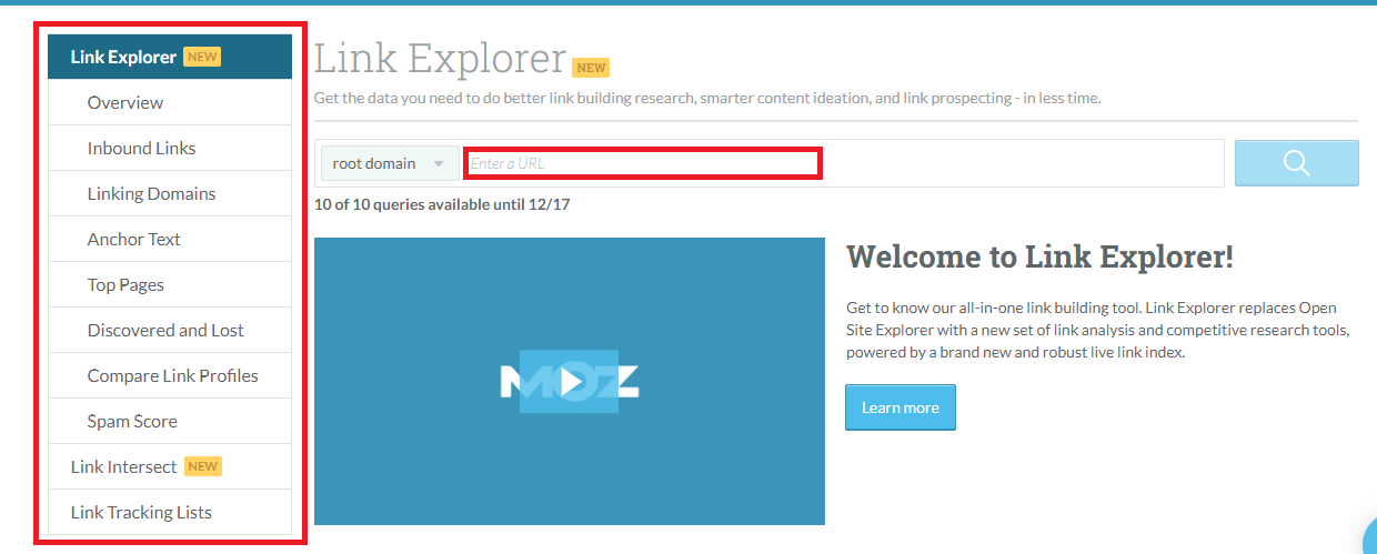moz link explorer link analysis
