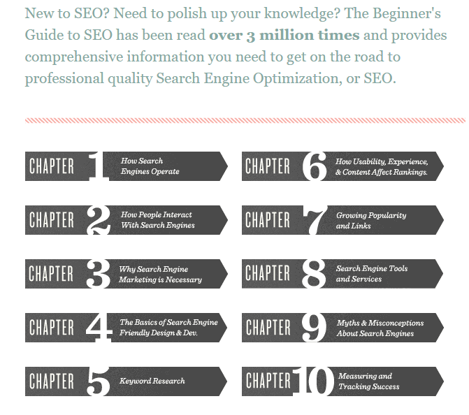 moz's beginners guide for SEO