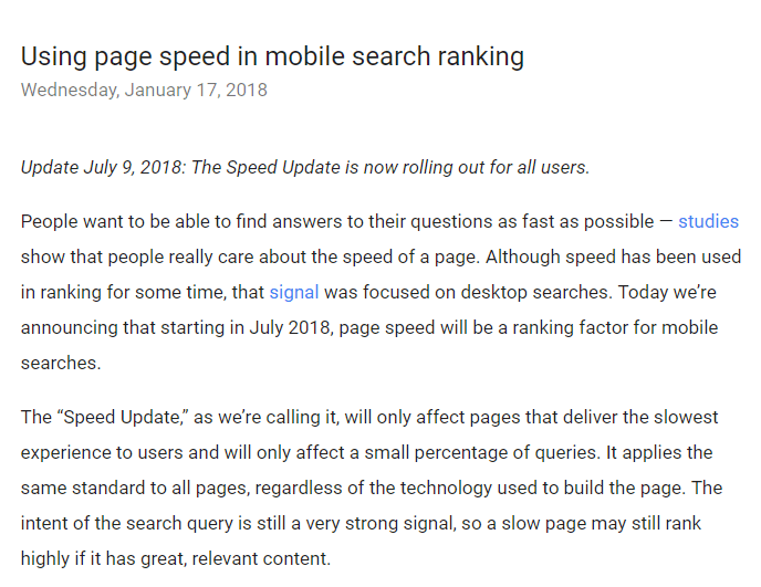 page speed in mobile search ranking