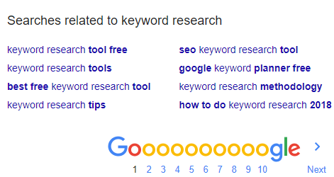 searches related section for keyword variation