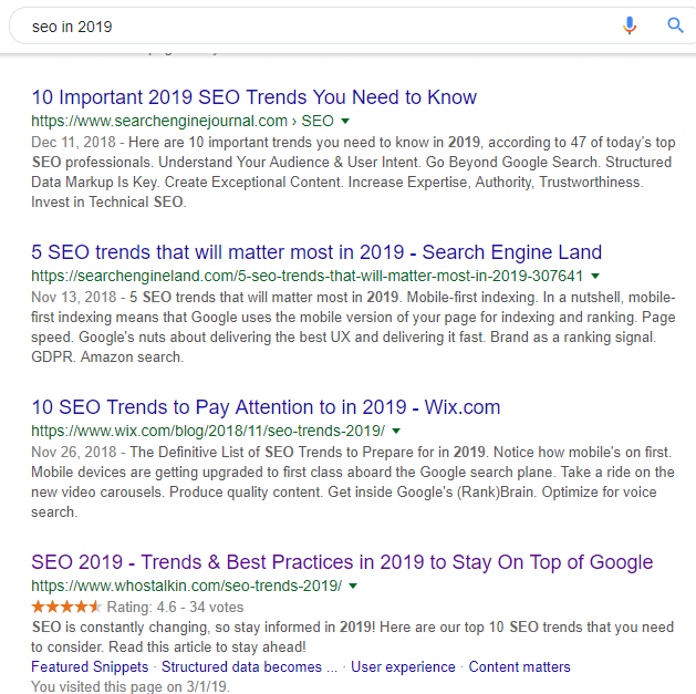 serp for seo in 2019