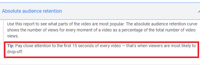 youtube says retain audiences in 15 seconds